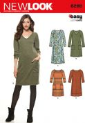 6298 New Look Pattern: Misses' Knit Dress with Neckline and Length Variations